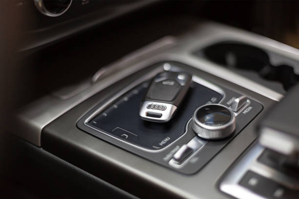 The key to Audi lies in the car on the touch panel control. Salon premium car with keyless access. stock photo