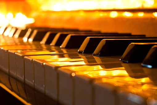 The keyboard of the piano