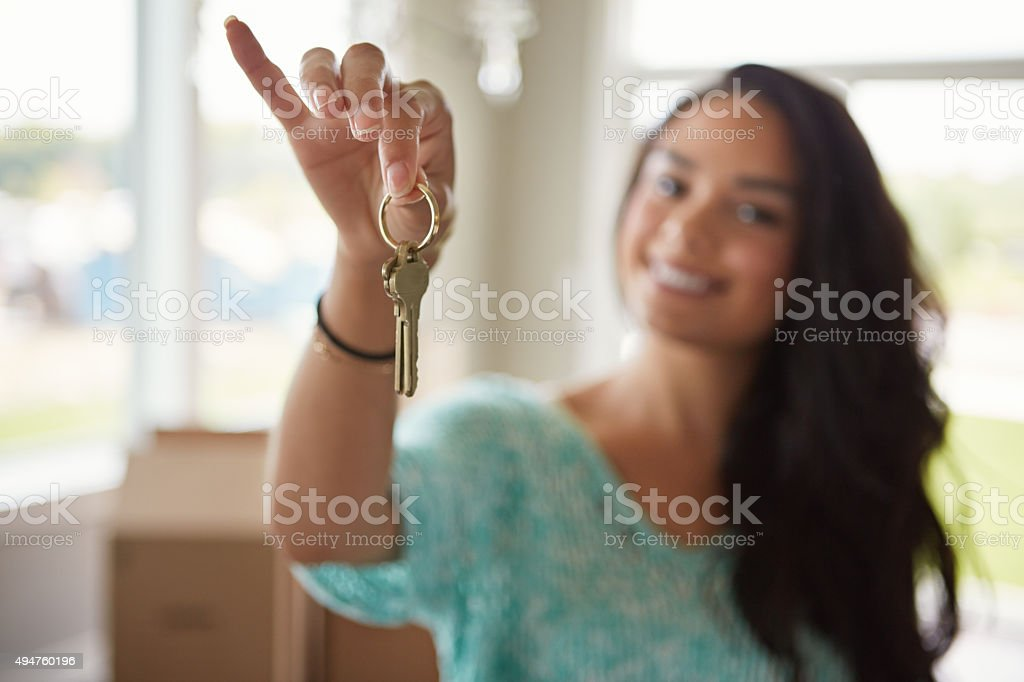 The keys to her new home stock photo