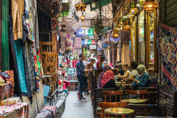 The Khan al-Khalili coffee shop in El Fishawi, Cairo stock photo