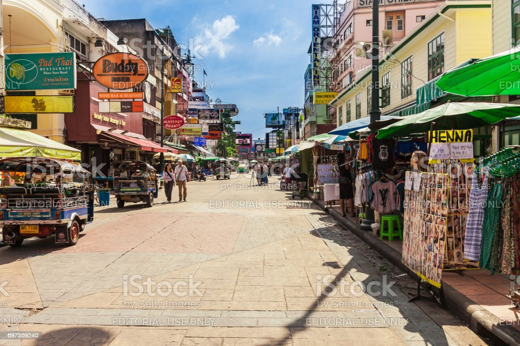 The Khaosan Road is 400 meters long and is the most famous street in Bangkok. stock photo