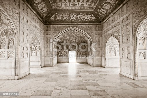 India architecture - within the Khas Mahal / Red Fort Agra (toned in sepia)