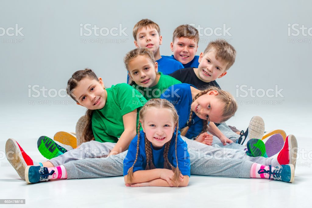 The kids dance school, ballet, hiphop, street, funky and modern dancers royalty-free stock photo