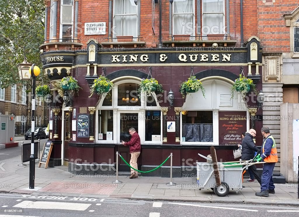 The King and Queen Public House, Foley Street, Fitzrovia, London stock photo