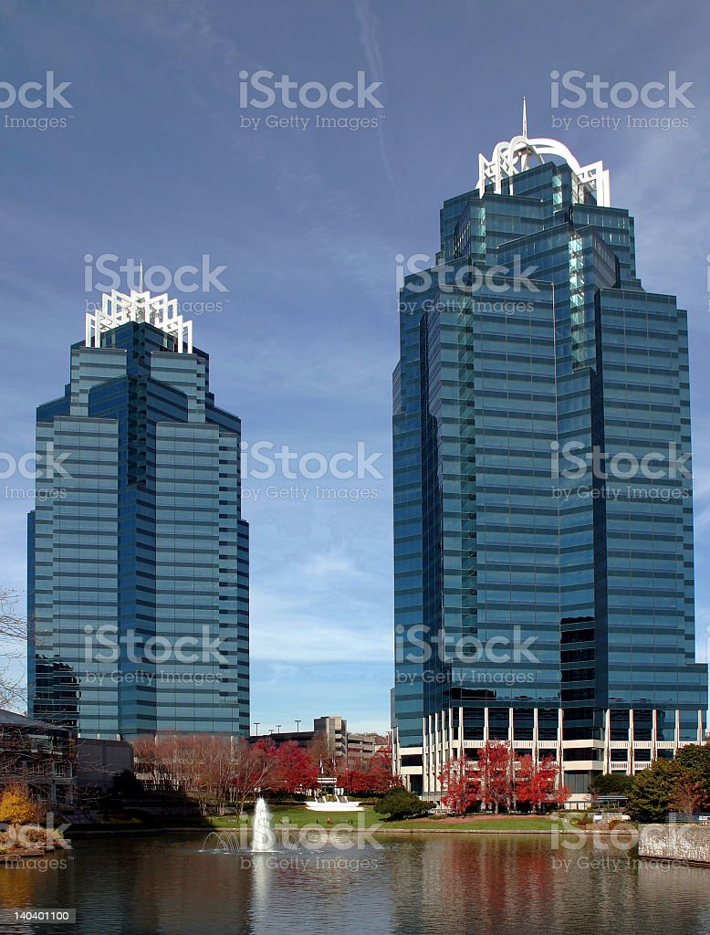 The king and queen towers overlooking water stock photo