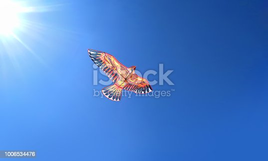 The kite in the form of a bird eagles soars high in the blue sky, the concept of freedom