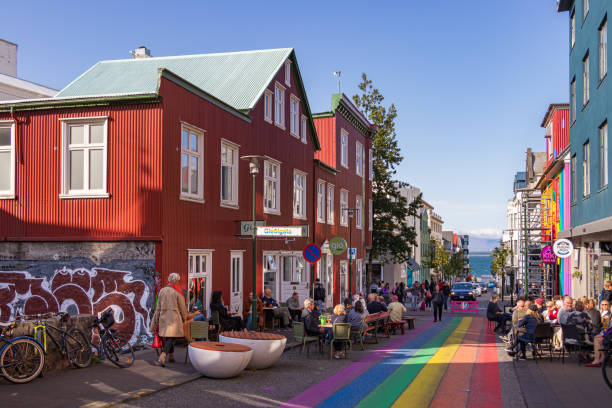 The Klapparstigur street with the pride gay painted rainbow colors in Iceland. stock photo
