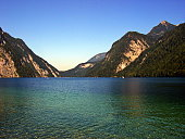 Königssee, upper Bavaria, Germany September 2006:  The Königssee is a natural lake in the extreme southeast Berchtesgadener Land. His surrounding sheer rock walls  create an echo well known for its clarity.