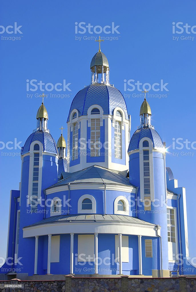 The knowledge of Christian Church on blue sky background royalty-free stock photo