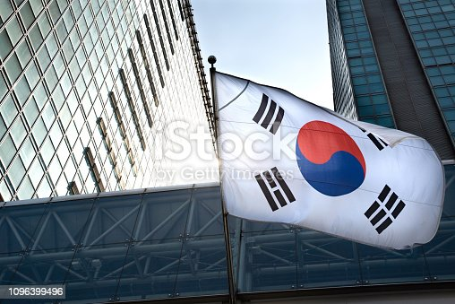 istock The Korean flag hanging in a high-rise building. 1096399496