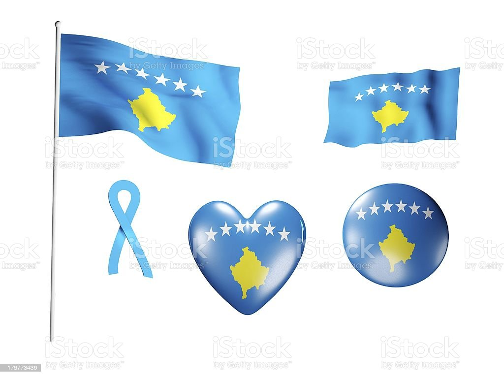 The Kosovo flag - set of icons and flags royalty-free stock photo