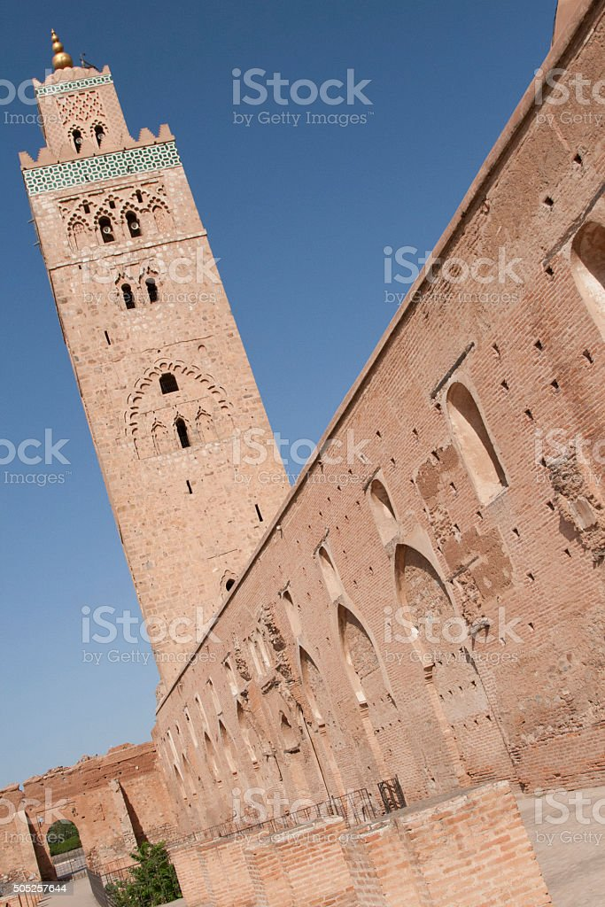 The Koutoubia and the sky of Marrakesh stock photo