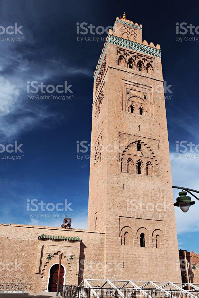 The Koutoubia Mosque in Marrakesh, Morocco. stock photo