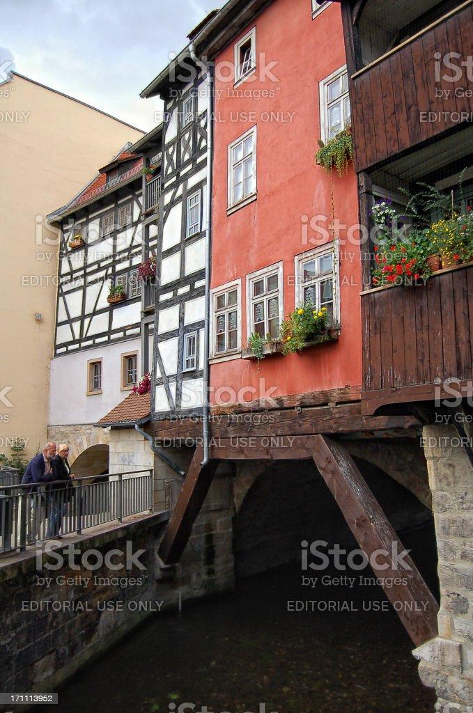 The Krämerbrücke at Erfurt (Thuringia - Germany) royalty-free stock photo