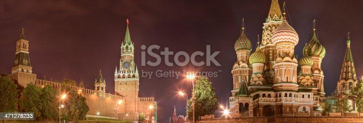 istock The Kremlin and Saint Basil's, Moscow at night - panorama 471278233
