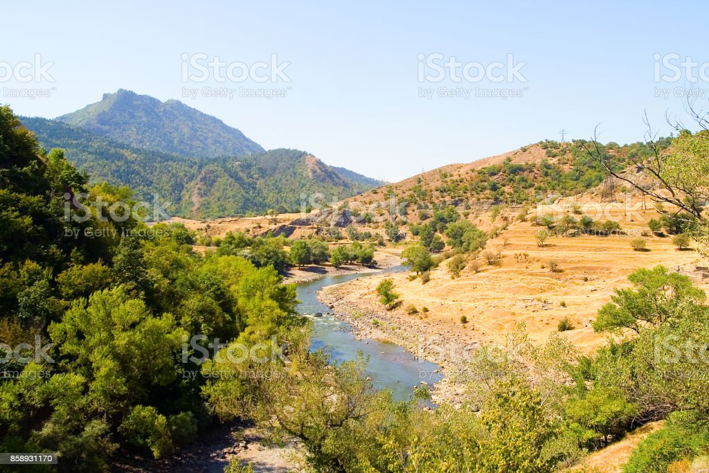 The Kura River in the Borjomi area. stock photo