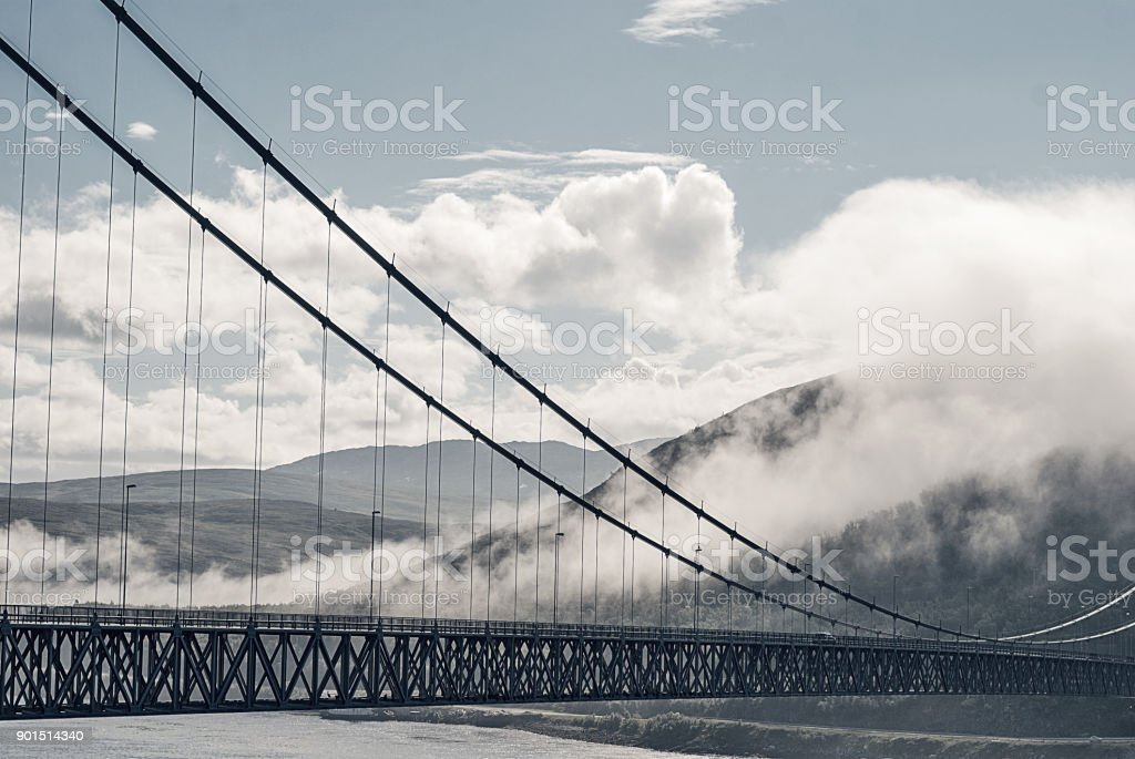 The Kvalsund Bridge between the mainland and the island of Kval stock photo