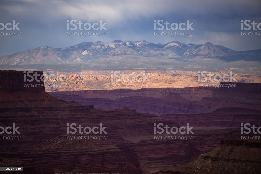 The La Sal Mountains from Island in the Sky, Canyonlands National Park stock photo