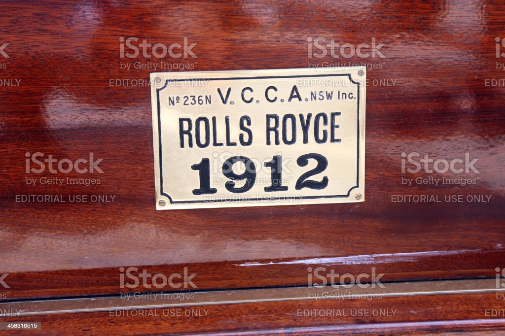 The label on vintage Rolls Royce royalty-free stock photo