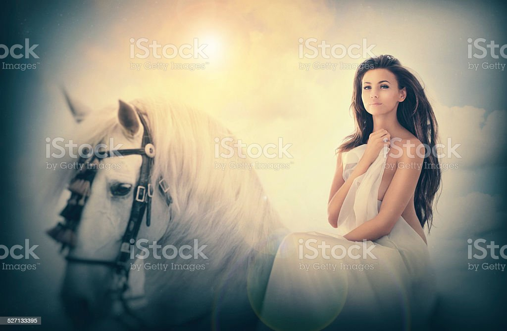 The lady and her mount stock photo