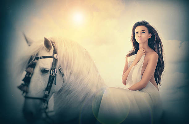 the lady and her mount - naked women with animals stock photos and pictures