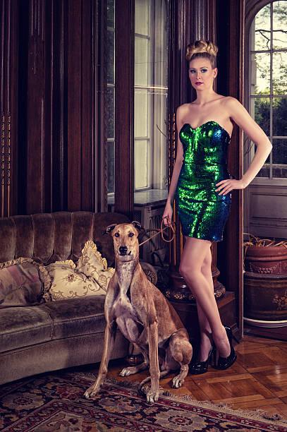 die lady mit einem greyhound - exklusive mode stock-fotos und bilder