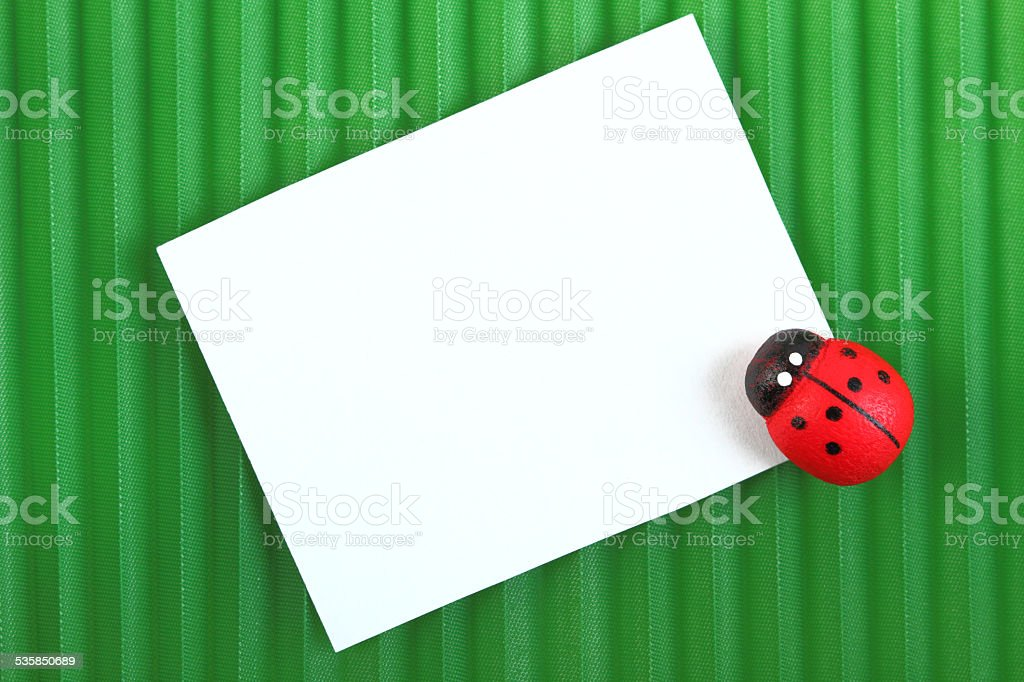 The ladybug with a card for message stock photo