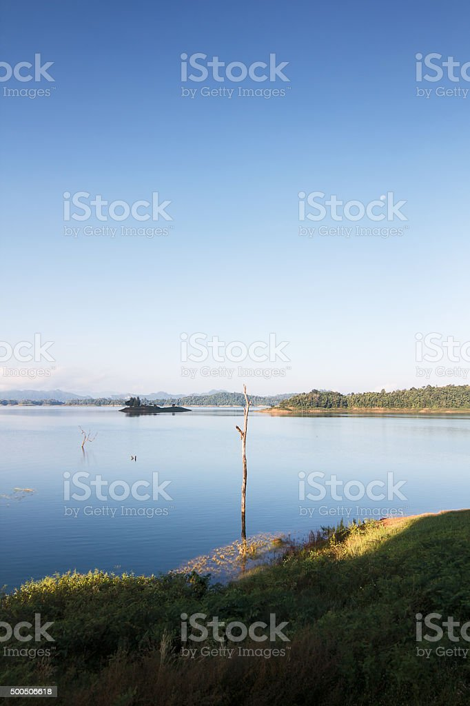 The lake at morning in Thailand. stock photo