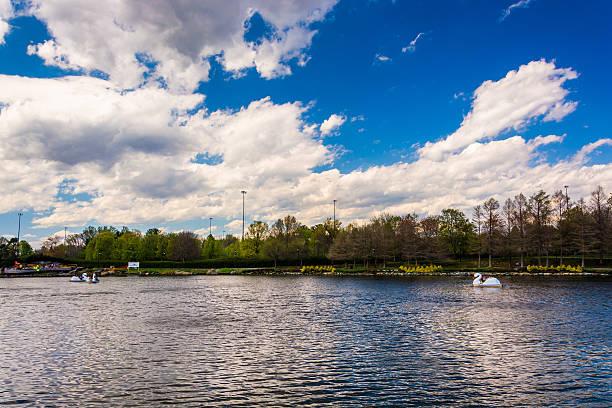 The lake at Washingtonian Center in Gaithersburg, Maryland. stock photo