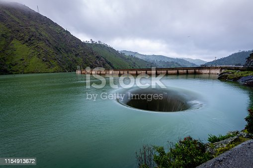 The glory hole is an overflow of Lake Berryessa that occurs when the water level is beyond a particular height in the reservoir.