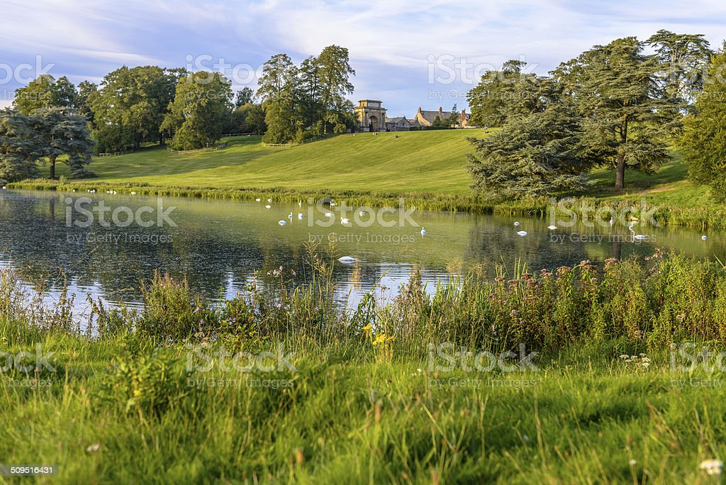 The lake in Blenheim Palace, England royalty-free stock photo