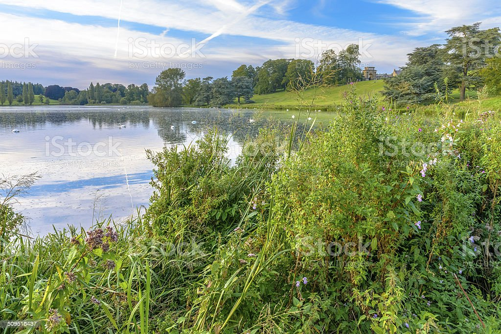 The lake in Blenheim Palace, England stock photo