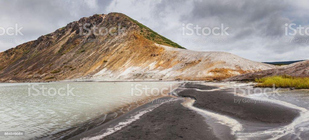 The lake in the caldera of Golovnin volcano, Kunashir island, Russia stock photo