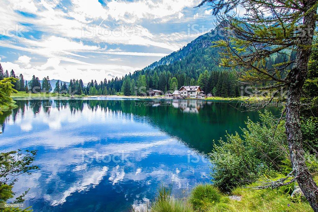 The lake Nambino in the Alps, Trentino, Italy stock photo