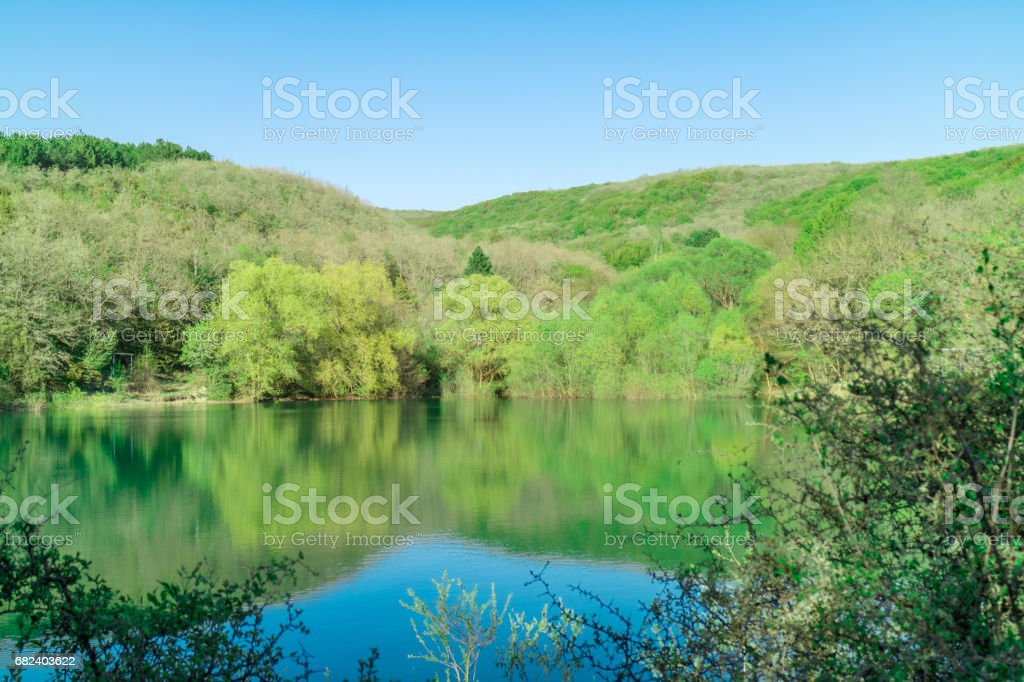 The lake near the Skelsky cave near the village of Podgornoye, Sevastopol, Balaklava district. royalty-free stock photo