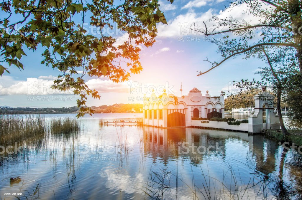The lake of Banyoles in the province of Girona stock photo