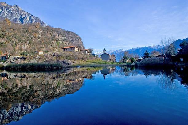 The lake of the mountain town stock photo