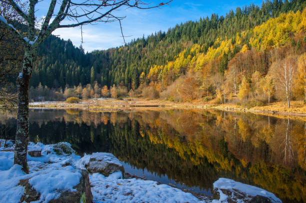 The lake Sankenbachsee in autumn near Baiersbronn in the Black Forest stock photo