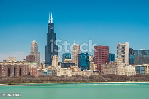 USA - Illinois - Chicago - The morning cityscape panorama with famous skyscrapers taken from Michigan lake