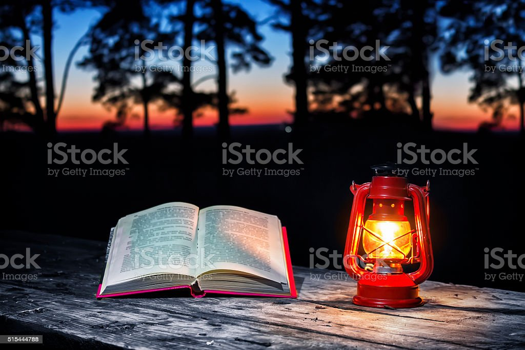 The Lamp and Book stock photo