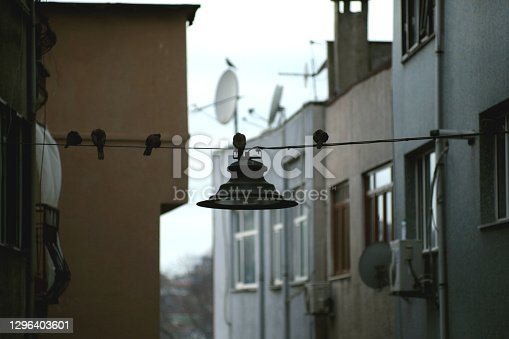 View of a lamp in narrow street, Istanbul.