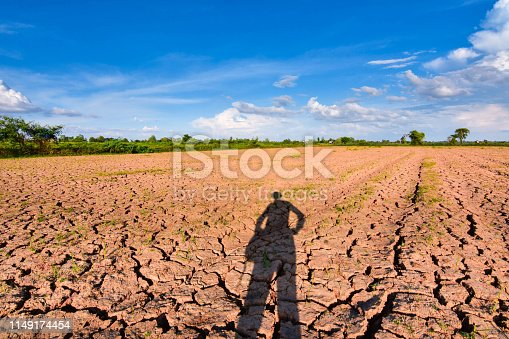 Global warming, changes in the atmosphere Green house effect Causing heat Drought, cracked land and evening sunshine