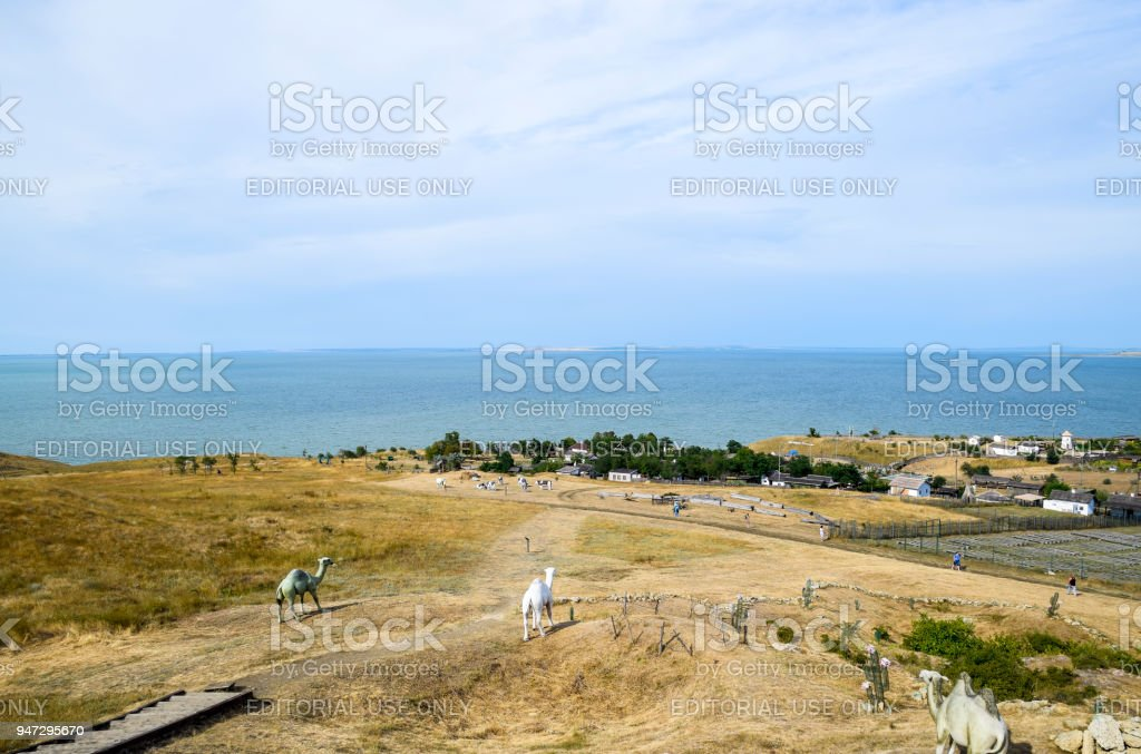 The landscape at the Cossack village - a museum Ataman. the village and the sea view from the heights of the hill. stock photo