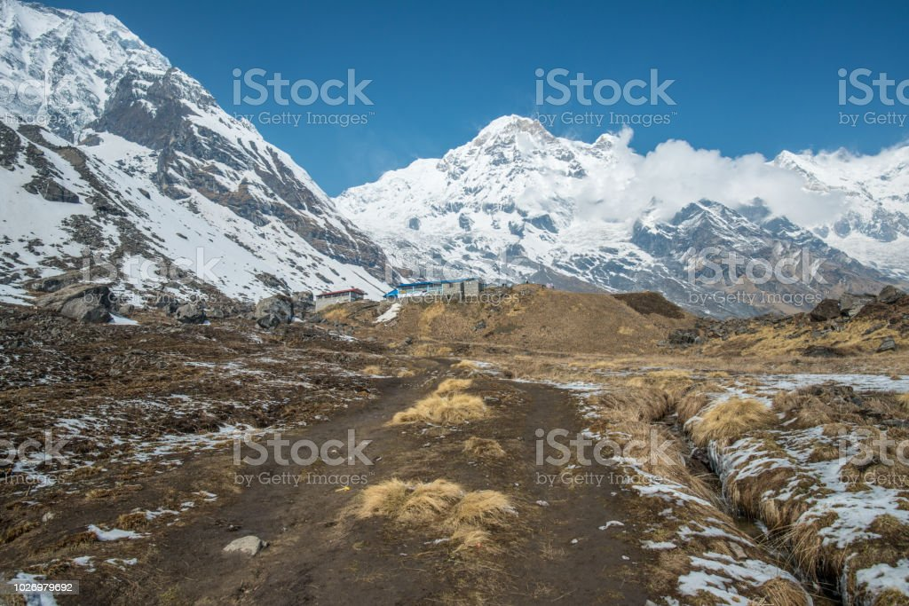 The landscape of Annapurna basecamp (4,130 metres) in Himalayas mountains range, Nepal. stock photo