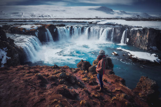 The Landscape of Godafoss Waterfall, Iceland The landscape of Godafoss waterfall in the late winter on the sunny day, Iceland glacier lagoon stock pictures, royalty-free photos & images