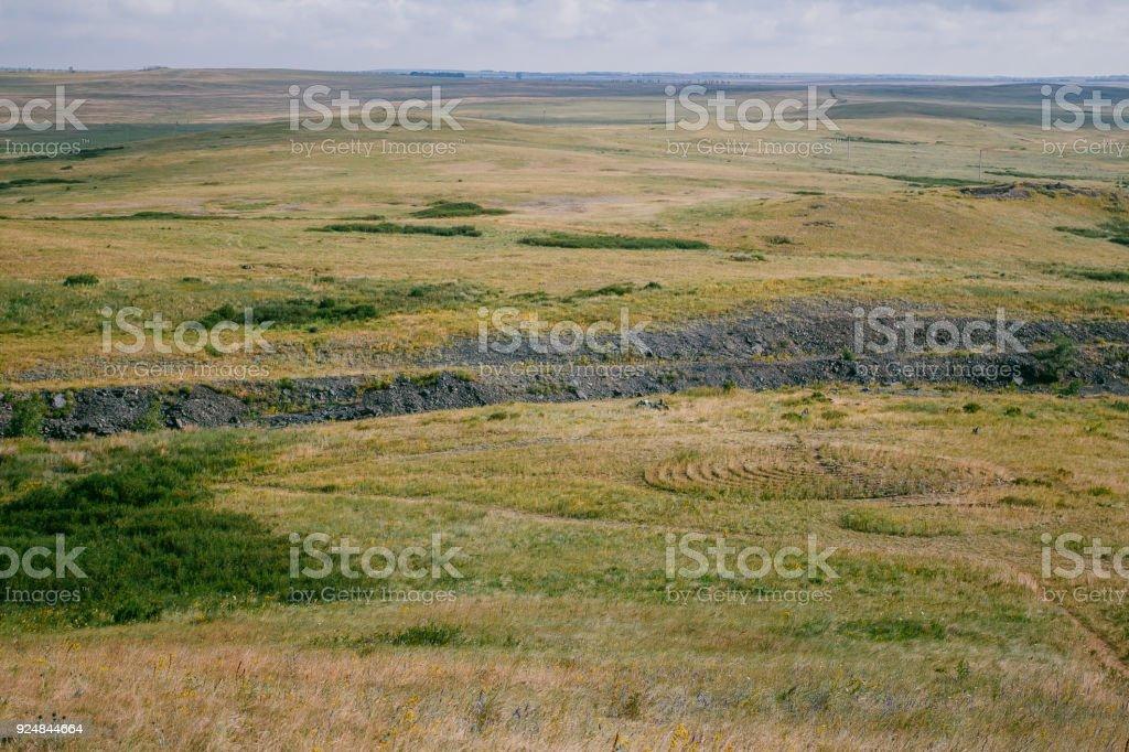 the landscape of the ancient settlement Arkaim stock photo