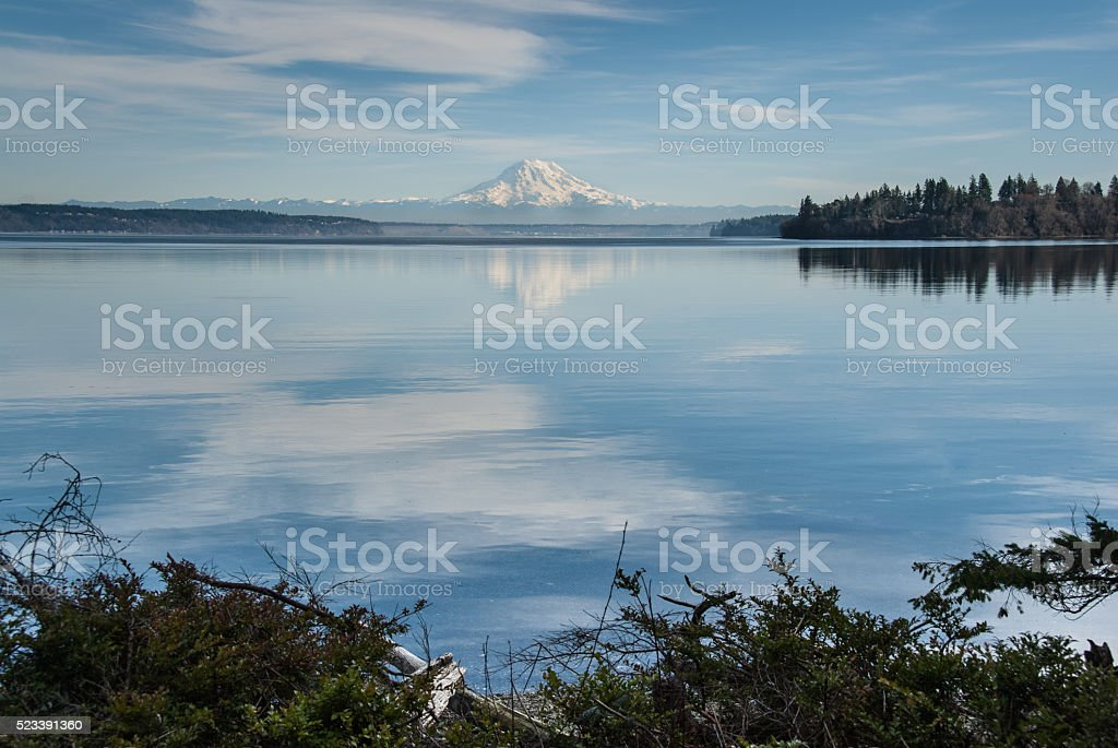 Mount Rainier Reflected in Puget Sound stock photo