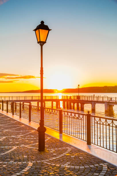 The lantern at the sunset stock photo