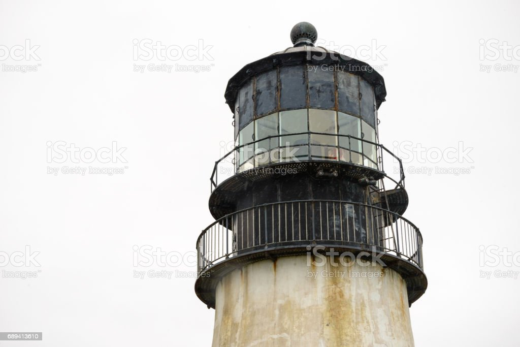 The Lantern Room of North Head Lighthouse at Cape Disappointment State Park stock photo