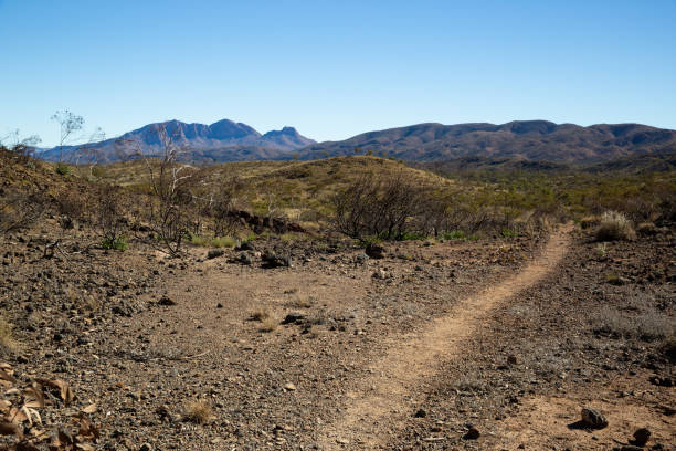The Larapinta trail winds its way through the Australian outback desert in the West Macdonell ranges stock photo